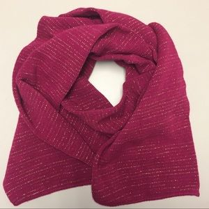 Deep pink scarf with gold thread striping